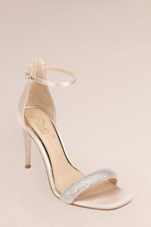 Jewel Badgley Mischka Ivory Heeled Sandals (Micro Crystal Puffed One-Band Stiletto Sandals)