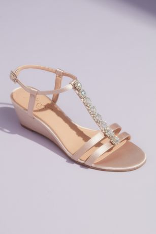 Jewel Badgley Mischka Ivory Wedges (T-Strap Satin Wedge Sandals with Crystal Florets)