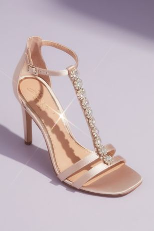 Jewel Badgley Mischka Ivory Heeled Sandals (T-Strap Satin Heeled Sandals with Crystal Florets)
