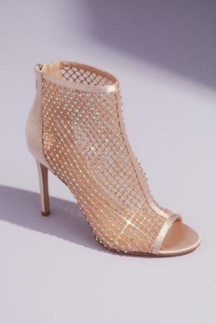 Jewel Badgley Mischka Ivory Heeled Sandals (Metallic Illusion Open Toe Booties with Crystals)