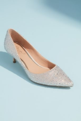 Jewel Badgley Mischka Ivory Pumps (Allover Crystal Almond Toe Kitten Heels)