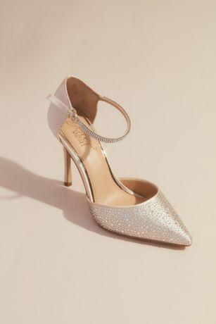 Jewel Badgley Mischka Ivory Pumps (Satin Dorsay Heels with Pointed Crystal Toe)