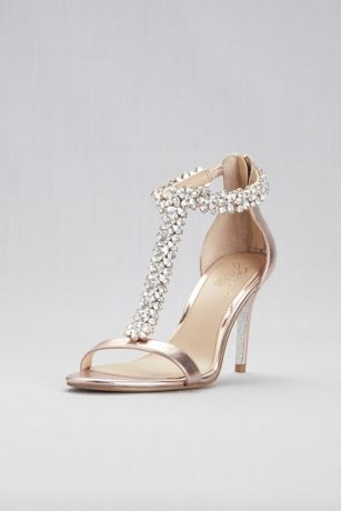 Jewel Badgley Mischka Pink Heeled Sandals (Jeweled T-Strap Metallic High Heels)