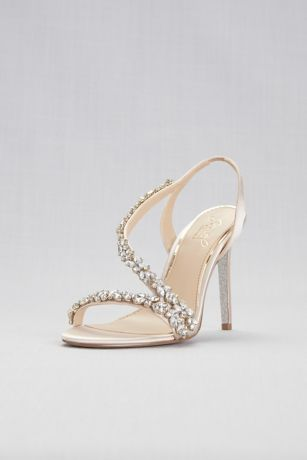 Jewel Badgley Mischka Ivory Heeled Sandals (Jeweled Satin Slingback Heels)