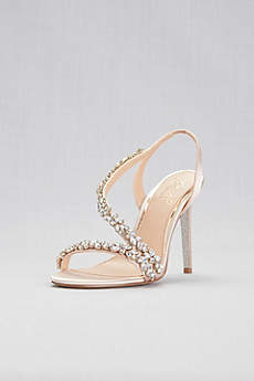 Jewel Badgley Mischka Ivory Sandals (Jeweled Satin Slingback Heels)