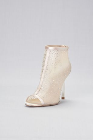 Jewel Badgley Mischka Ivory Peep Toe Shoes (Crystal-Detailed Mesh Peep-Toe Booties)