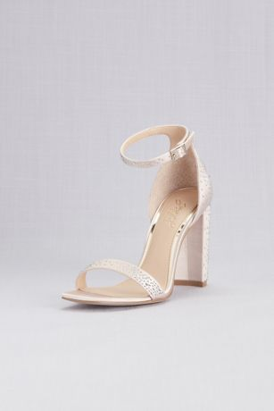 Jewel Badgley Mischka Ivory Heeled Sandals (Satin Crystal Ankle Strap Sandals with Block Heel)