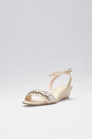 Jewel Badgley Mischka Yellow Heeled Sandals (Crystal Adorned Glitter Wedges with Cut-Out)