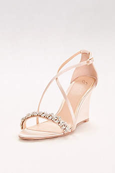 Jewel Badgley Mischka Grey Sandals (Satin and Crystal Wedges with Crisscross Straps)