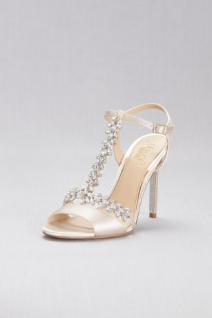 Jewel Badgley Mischka Ivory Heeled Sandals (Jeweled T-Strap Satin Ankle-Strap Heels)
