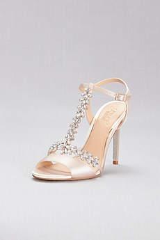 Jewel Badgley Mischka Ivory Sandals (Jeweled T-Strap Satin Ankle-Strap Heels)