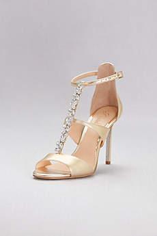 Jewel Badgley Mischka Yellow Sandals (Jeweled T-Strap Metallic Ankle-Strap Heels)