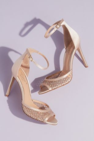 Jewel Badgley Mischka Ivory Heeled Sandals (Illusion Peep Toe Satin Ankle Strap Sandals)
