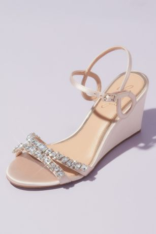 Jewel Badgley Mischka Ivory Wedges (Satin Loop Strap Crystal-Embellished Wedge Sandals)