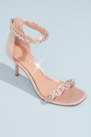 Jewel Badgley Mischka Ivory Heeled Sandals (Satin Stiletto Sandals with Crystal Ankle Straps)