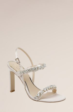 Jewel Badgley Mischka Ivory Heeled Sandals (Satin and Crystal High Stiletto Sandals)