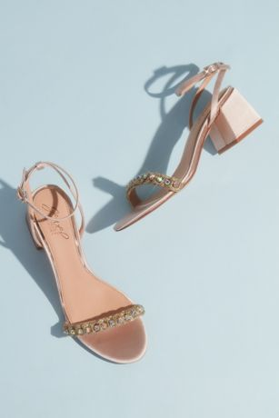 Jewel Badgley Mischka Ivory Heeled Sandals (Satin and Crystal Low Block Heel Sandals)