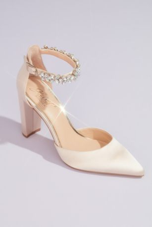 Jewel Badgley Mischka Ivory Pumps (Pointed Toe Block Heels with Crystal Ankle Strap)