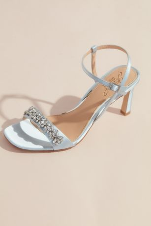 Jewel Badgley Mischka Blue Heeled Sandals (Strappy Satin High Heels with Crystals)