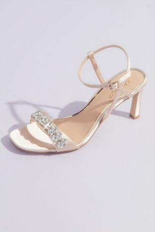 Jewel Badgley Mischka Blue;Ivory Heeled Sandals (Elegant Strappy Satin High Heels with Crystals)