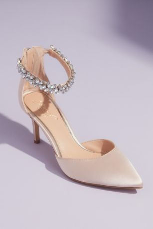 Jewel Badgley Mischka Ivory Pumps (dOrsay Lace Heels with Crystal Ankle Strap)