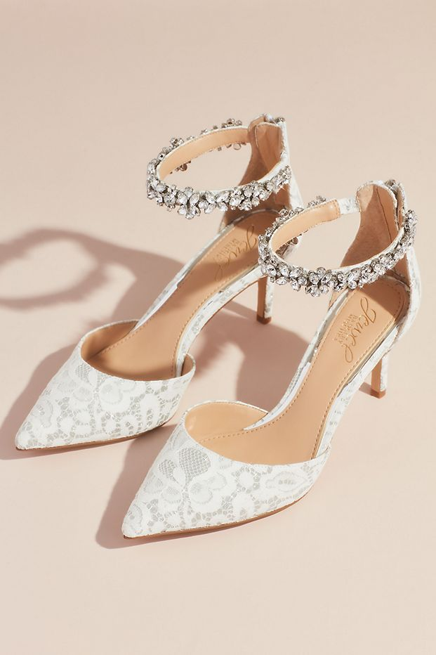 Lace d'Orsay Heels with Crystal Ankle Strap