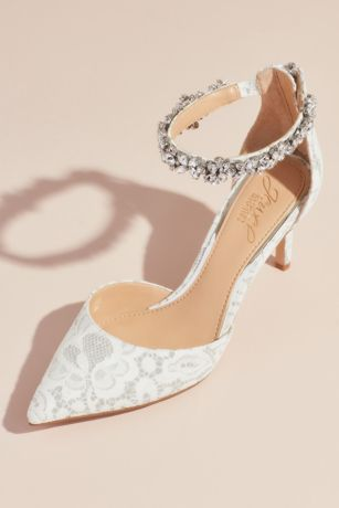 "Jewel Badgley Mischka Ivory;White Pumps (Lace d""Orsay Heels with Crystal Ankle Strap)"