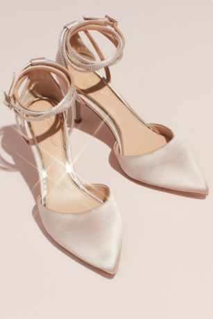 "Jewel Badgley Mischka Ivory Pumps (Satin d""Orsay Heels with Crystal Ankle Wrap Strap)"