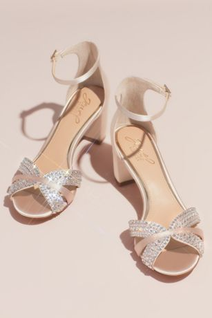 Jewel Badgley Mischka Ivory Heeled Sandals (Crystal Embellished Strap Satin Block Heel Sandals)