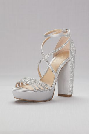 Jewel Badgley Mischka Grey Heeled Sandals (Crystal-Embellished Strappy Satin Platform Sandals)