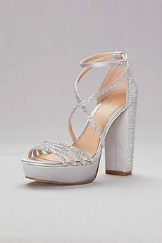 Jewel Badgley Mischka Grey Sandals (Crystal-Embellished Strappy Satin Platform Sandals)
