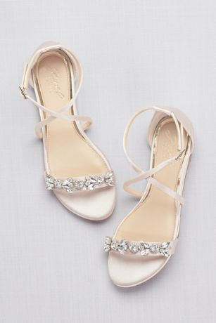 43b04923983 Jewel Badgley Mischka Ivory Flat Sandals (Satin and Crystal Cross-Strap  Flat Sandals)