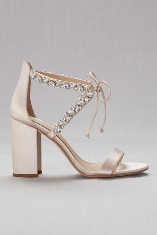 Crystal Embellished Ankle Tie Block Heel Sandals David S