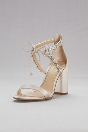 Jewel Badgley Mischka Grey;Ivory Sandals (Crystal-Embellished Ankle-Tie Block Heel Sandals)