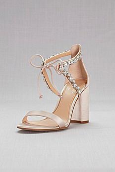 Crystal-Embellished Ankle-Tie Block Heel Sandals JWTHAMAR