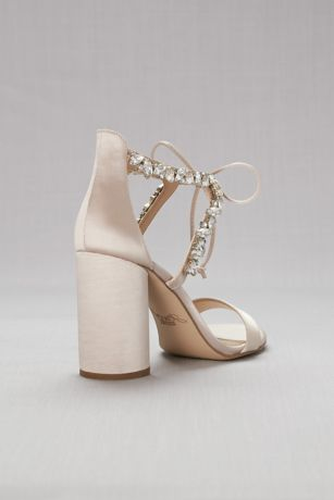 Crystal Embellished Ankle Tie Block Heel Sandals David S