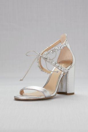 Jewel Badgley Mischka Grey Heeled Sandals (Ankle-Tie Block Crystal-Embellished Heel Sandals)