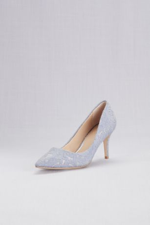 b0fac2ea0729 Jewel Badgley Mischka Blue Pink Pumps (Lace Overlay Metallic Pointed Toe  Pumps)