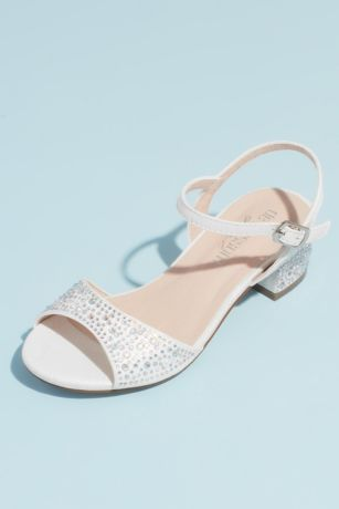 Blossom Grey;Ivory;White Flowergirl Shoes (Girls Crystal Block Heel Ankle Strap Sandals)
