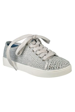Blossom Grey;White Flowergirl Shoes (Girls Crystal Cap-Toe Sneakers)