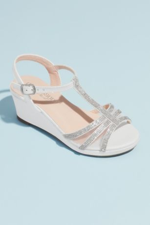 White Flowergirl Shoes (Girls Crystal T-Strap Illusion Mesh Wedge Sandals)