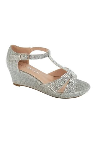 Blossom Grey;Yellow Flowergirl Shoes (Girls Embellished Sparkle T-Strap Wedges)