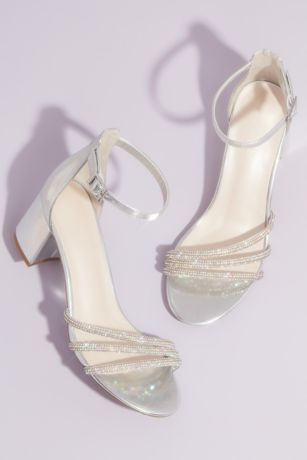 David's Bridal Grey;Pink Heeled Sandals (Crystal Embellished Metallic Block Heel Sandals)