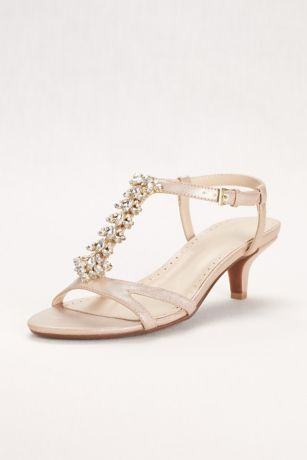 89964f549 David s Bridal Ivory Heeled Sandals (Crystal T-Strap Low Heel Sandal)