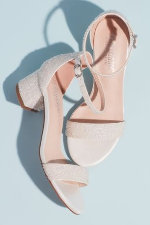 Blossom White Heeled Sandals (Allover Iridescent Pearl Low Block Heel Sandals)