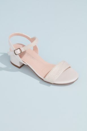 DeBlossom Collection Beige;Grey;White Flowergirl Shoes (Girls Low Block Sandals with Embellished Straps)