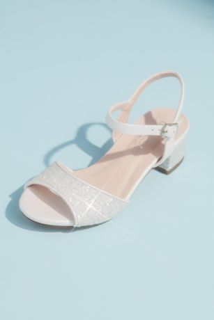 Blossom Grey;Pink;White Flowergirl Shoes (Girls Glitter Peep Toe Sandals with Block Heel)