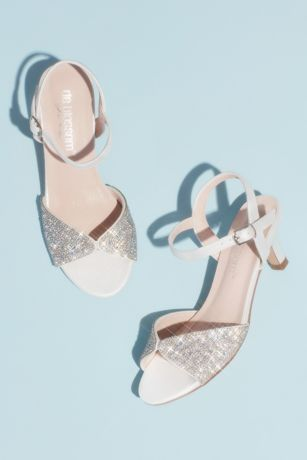 "Blossom White Flowergirl Shoes (Girls"" Pave Crystal Peep Toe Ankle Strap Sandals)"