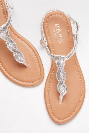 David's Bridal Grey;Pink;Yellow Flat Sandals (Twisted T-Strap Sandals)