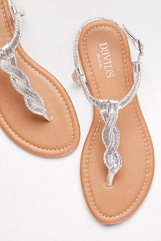 David S Bridal Grey Sandals Twisted T Strap